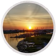Sunrise At Two Mile Inlet - Wildwood Crest Round Beach Towel
