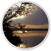 Sunrise At Yellowstone Lake Round Beach Towel
