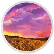 Sunrise At Zabriskie Point Round Beach Towel