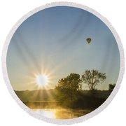 Sunrise Balloon Ride Over Lake Nockamixon Round Beach Towel