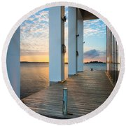 Sunrise Boardwalk Round Beach Towel