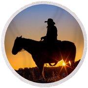 Sunrise Cowboy Round Beach Towel