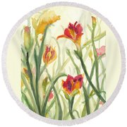 Sunrise Flowers Round Beach Towel