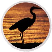 Sunrise Heron Round Beach Towel