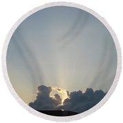 Sunrise With Sunbeams Round Beach Towel