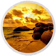 Sunrise In Bintan 2 Round Beach Towel