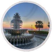 Sunrise In Charleston Round Beach Towel