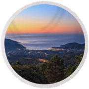 sunrise in Elba island Round Beach Towel