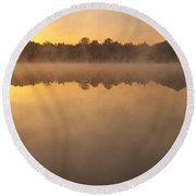 Sunrise In Fog Lake Cassidy With Mount Pilchuck And Reflections  Round Beach Towel