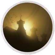 Sunrise In Fog With Old Barn And Steeples With Weather Vanes Round Beach Towel