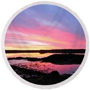 Sunrise In Maine Round Beach Towel