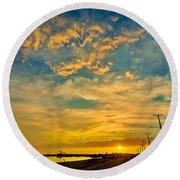 Sunrise In Manaure Colombia Round Beach Towel