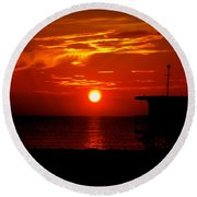 Sunrise In Miami Beach Round Beach Towel