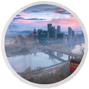 Pittsburgh Fall Day Round Beach Towel