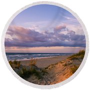 Sunrise In Rodanthe Round Beach Towel