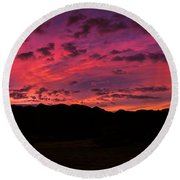 Sunrise In The Foothills Round Beach Towel