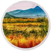 Sunrise In Verde Valley Arizona Round Beach Towel