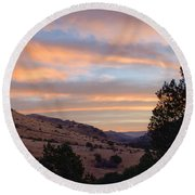 Sunrise - Indian Lodge Round Beach Towel by Allen Sheffield