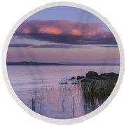 Sunrise Lake Champlain Shore Vermont Clouds Round Beach Towel