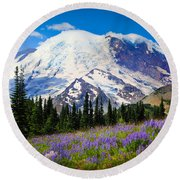 Sunrise Lupines Round Beach Towel