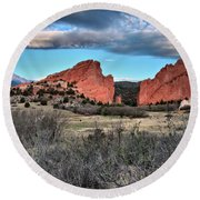 Sunrise Of The Gods Round Beach Towel