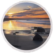 Sunrise On A Beach Near The Port Round Beach Towel