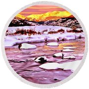 Sunrise On A Cold Day Round Beach Towel