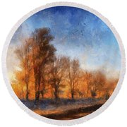 Sunrise On A Rural Country Road Photo Art 02 Round Beach Towel