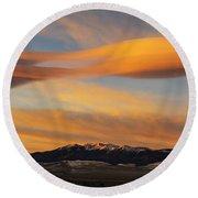 Sunrise On Lenticular Clouds Round Beach Towel