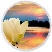 Sunrise On Lotus Lillie Round Beach Towel