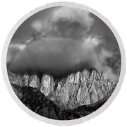 Sunrise On Mount Whitney Eastern Sierras California Round Beach Towel