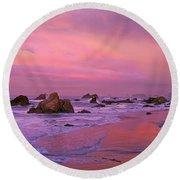 Sunrise On Sea Stacks Harris Sb Oregon Round Beach Towel