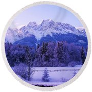 Sunrise On Snowy Mountain Round Beach Towel