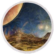 Sunrise On Space Round Beach Towel