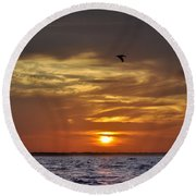 Sunrise On Tampa Bay Round Beach Towel