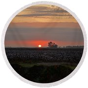 Sunrise On The Cotton Field Round Beach Towel