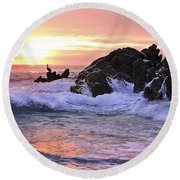 Sunrise On The Horizon Round Beach Towel