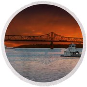 Sunrise On The Illinois River Round Beach Towel