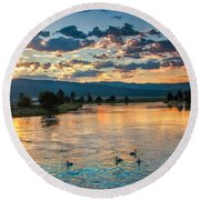 Sunrise On The North Payette River Round Beach Towel