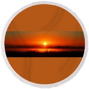 Sunrise On The Rice Fields Round Beach Towel