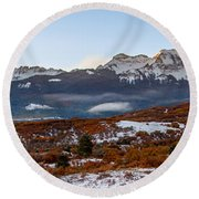 Sunrise On The San Juans Round Beach Towel