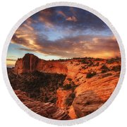 Sunrise Over Canyonlands Round Beach Towel by Darren  White