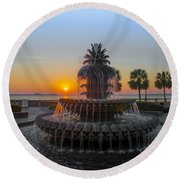Sunrise Over Charleston Round Beach Towel