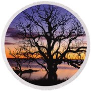 Sunrise Over Coongee Lakes With Moon.  Round Beach Towel