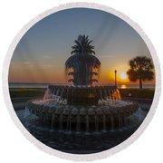 Sunrise Over Downtown Charleston  Round Beach Towel