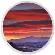 Sunrise Over Granada And The Alhambra Castle Round Beach Towel