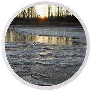Sunrise Over Ice Round Beach Towel