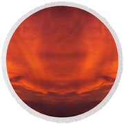 Sunrise Over Jackson Michigan Mirror Image Round Beach Towel