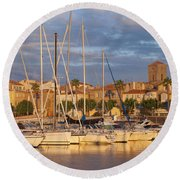 Sunrise Over La Ciotat France Round Beach Towel