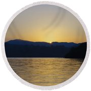 Sunrise Over Lough Eske And The Bluestack Mountains Round Beach Towel